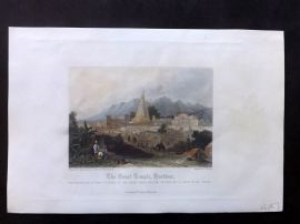 After Dibden 1860 Hand Col Print. Great Temple, Hurdwar, India